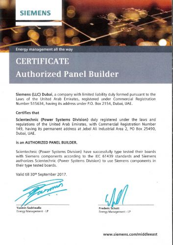 Siemens Authorized Panel Builder Certificate